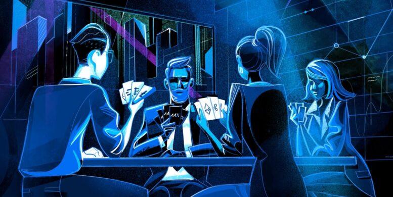 Artikelbild: Illustration mit einer Gruppe von Kartenspielern die Planning Poker spielen